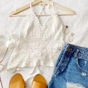 OS White Halter Top Crocheted Top